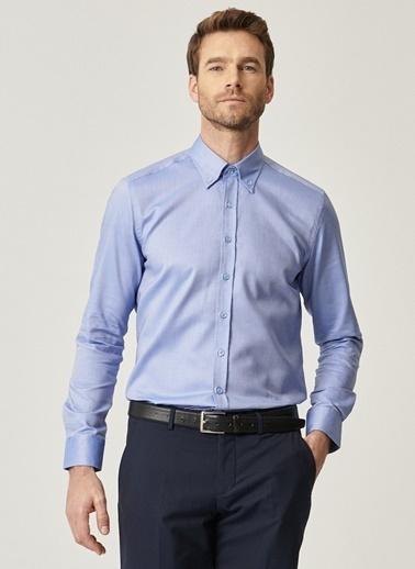 Altınyıldız Classics Tailored Slim Fit Dar Kesim %100 Koton Düğmeli Yaka Gömlek 4A2021100148 Mavi